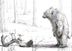 Illustration from the children's book Waiting for Winter.  Hedgehog and Squirrel are singing sea shanties to stay awake to see the snow, and wake up bear, who decides to join them.