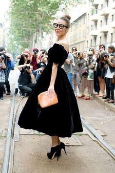 "Ulyanna Sergeenko, designer    ""I'm wearing an Ulyanna Sergeenko dress, Cassidy shoes, Alexander Terricov glasses and I am carrying a Simachev bag."""