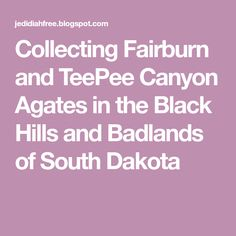Collecting Fairburn and TeePee Canyon Agates in the Black Hills and Badlands of South Dakota Fairburn Agate, Agates, South Dakota, Dreams, Travel, Collection, Black, Viajes, Black People