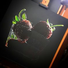 Day 2 new step of my new acrilic still life painting. Strawberries, glass, paint, acrylic,  acrlylic paint, red, passion, red passion, shadows, light, water, realism paint, brush