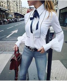 Office Bow Tie Blouse Women Lantern Sleeve White Button Necktie Shirts Female Elegant Work Shirt Casual Tops New 2018 Spring Fashion Mode, Look Fashion, New Fashion, Womens Fashion, Fashion Clothes, Luxury Fashion, Autumn Fashion, Fashion Dresses, Clothes Women