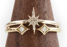 star-engagament-ring    Diamond Ring Set by Envero Jewelry, $498 | Shop Similar Styles  For your north star: a stellar diamond set that fits together just so.