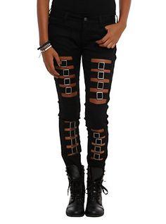 Royal Bones By Tripp Buckle Skinny Jeans, BLACK, hi-res
