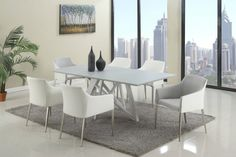Katie Glass Metal Fabric 7pc Dining Room Set w/White and Gray Chair