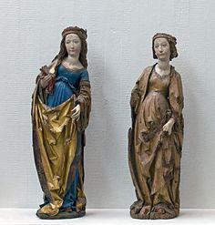 Tilman Riemenschneider: Zwei Heiligenfiguren, rechts die Hl. Katharina, links eine nicht bestimmte Figur  Historisches Museum Frankfurt am Main