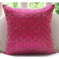 Fuchsia N Silver  - Throw Pillow Covers - 16x16 Inches Silk Pillow Cover Embroidered with Silver Beads