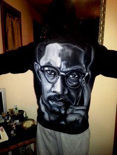 Airbrushed Malcolm X Hoodie by GT Artland #Hoodie