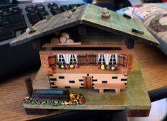 Vintage M.I.M. Lador, Inc. Wooden Swiss Chalet Music Box Plays Dr. Zhivago  #400091