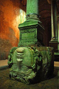 Medusa column in the Istanbul cistern