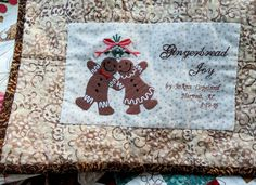 4-19-16  Found a very appropriate machine embroidery design for the label for Gingerbread Joy.