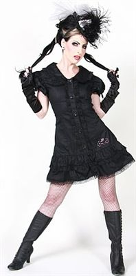JUDY CUTIE DRESS - BLACK COTTON #goth #gothic #punk #punkrock #rockabilly #psychobilly #pinup #inked #alternative #alternativefashion #fashion #altstyle #altfashion #clothing #clothes #vintage #noir #infectiousthreads #horrorpunk #horror #steampunk #zombies #burningmanclothing #hilary's vanity