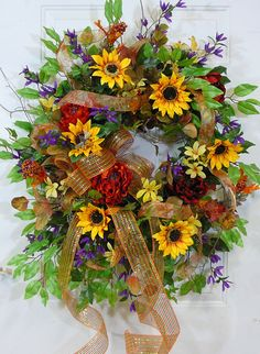 Sunflower Sparkle Deco Mesh Bow Fall Door Wreath by LadybugWreaths, $179.97