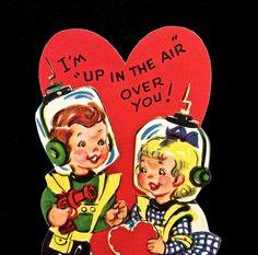 Vintage ASTRONAUT and Space Travel Valentine by VintagePrairieHome