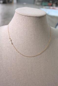 Sideways cross necklace in gold, simple dainty jewelry