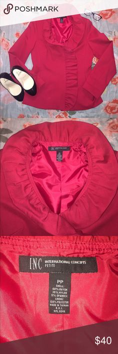 INC International Concepts Blazer SZ XSP (PP) Beautiful INC blazer from Macy's! Worn twice excellent condition perfect for the office! Blazer if fully lined with light padding at the should to keep structure to the jacket. Pretty ruffle collar, stand out red color, spruce up your suit collection with this pretty piece! Shoulder to hem 23 inches 17.5 inches armpit to armpit 22.5 shoulder to sleeve hem. Make an offer! INC International Concepts Jackets & Coats Blazers