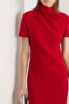 Red wool-crepe Concealed hook and zip fastening at back wool; Suits Series, Haute Couture Designers, Silk Midi Dress, Dress Red, Brandon Maxwell, Western Dresses, Elegant Dresses, Ready To Wear, Menswear