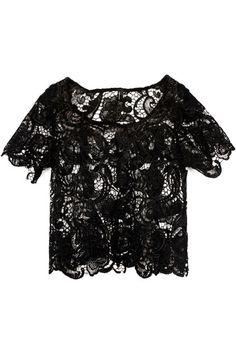 Retro Lace Hem Black Top    $31.99