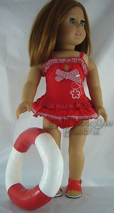 "Red Swimsuit Bathing Suit made for 18"" American Girl Doll Clothes TOTALLY CUTE! #Generic"