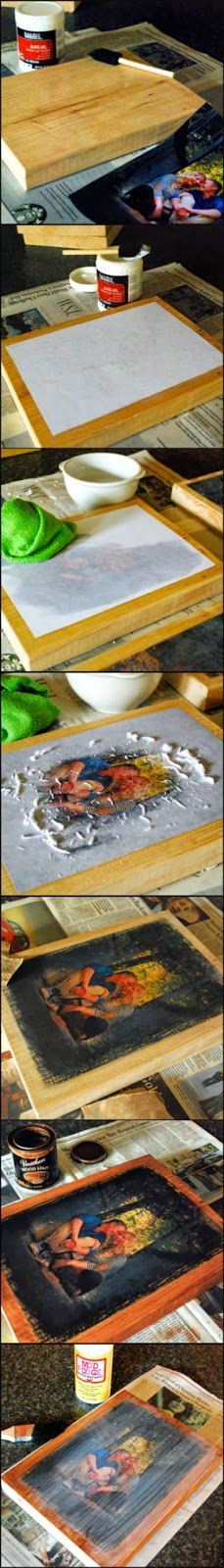 Photo transfer onto Wood - pinned over 25,000 times. Makes simple and inexpensive Christmas gifts!