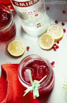 This amazing Mardi Gras drink will be ready in no time. Just mix 1.5 oz Smirnoff Vodka, 5 oz Pomegranate Juice, and garnish with lemon.