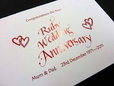Personalised Ruby Wedding Anniversary Card !!