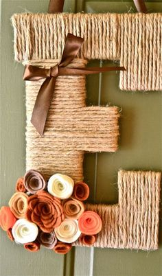 Fall Twine Personalized Monogram Wreath w/ handcrafted flowers and ribbon. also think game day colors :)