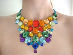 Sparkling Rainbow Rhinestone Statement Bib Necklace by SparkleBeastDesign