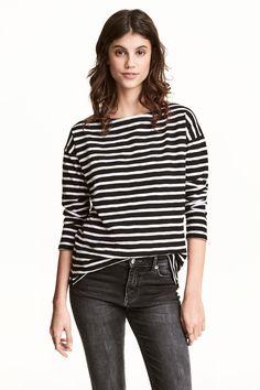 Long-sleeved top - Black/Striped - Ladies | H&M GB