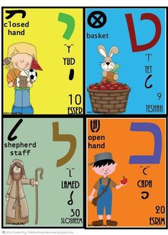Weavings: A Sampling of Hebrew Letters -- Hebrew Alphabet Flashcards #learnhebrew