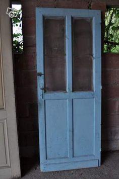 ancienne porte d 39 entr e d 39 atelier vitr e en ch ne et fer 205 x 83 cm salons industrial. Black Bedroom Furniture Sets. Home Design Ideas