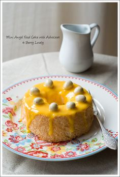 Mini Angel Food Cakes topped with Advocaat