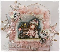 """Magnolia Card created by LLC DT Member Tracy Payne, using papers from Maja Design's """"Vintage Summer Basics"""" collection."""