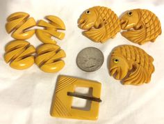 Vintage Yellow Bakelite Button and Buckle Lot 7 Pieces