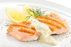Salmon With Creamy Dill Sauce Recipe, Dill Sauce For Salmon, Garlic Salmon, Lemon Salmon, Dill Recipes, Salmon Recipes, Sauce Recipes, Cooking Recipes, Yummy Recipes