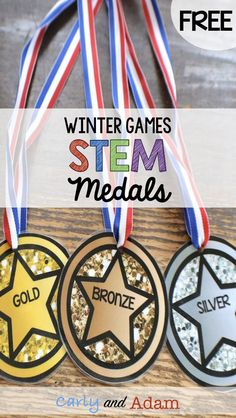 How to Organize a Winter Games STEM Competition in Your Classroom — Carly and Adam Sports Medals, Olympic Medals, Olympic Games, Olympic Crafts, Competition Games, Classroom Freebies, Classroom Fun, Sports Day, Pep Rally