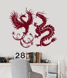 Vinyl Wall Decal Dragon Phoenix Bird Fantasy Asian Style Stickers Murals (ig4887)