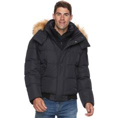 Men's AM Studio by Andrew Marc Down Faux-Fur Hooded Bomber Jacket (1.784.950 IDR) ❤ liked on Polyvore featuring men's fashion, men's clothing, men's outerwear, men's jackets, black, mens fleece lined jacket, mens fur lined bomber jacket, andrew marc mens jacket and mens insulated jackets