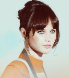 Jyn Erso in Rebel Alliance pilot gear. Felicity Jones is stunningly gorgeous.