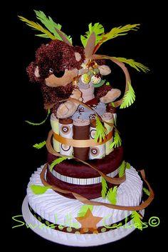 Funky Lil' Monkey Diaper Cake by swaddlestar, via Flickr