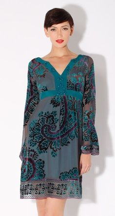Hale Bob Dress Seven Years In Tibet Teal - NewChicBoutique.com