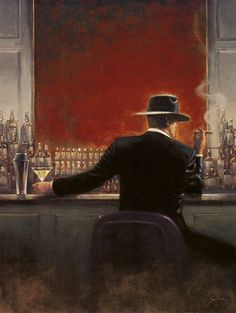 Brent Lynch Paintings, Art Print, Cigar Bar, Evening Lounge Painting