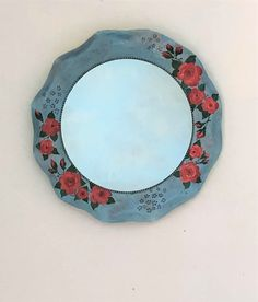 Shabby chic mirror, floral decorative mirror, country cottage mirror, boho wall decor, roses wall art, gypsy mirror, blue bedroom mirror Shabby Chic Table Lamps, Shabby Chic Mirror, Shabby Chic Wall Decor, Bonsai Shop, Cottage Mirrors, Ethnic Decor, Blue Bedroom, Gypsy, Roses