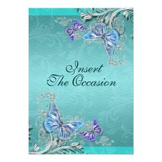 Shop Blue silver birthday engagement wedding invitation created by mensgifts. Butterfly Wedding Invitations, Beautiful Wedding Invitations, Elegant Wedding Invitations, Bachelorette Party Invitations, Rehearsal Dinner Invitations, Engagement Party Invitations, Quinceanera Gifts, Quinceanera Invitations, Online Invitations