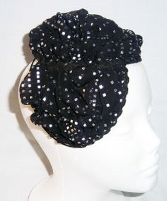 Black Gems Pouf Hat made by manipulating fabric to create interesting design. Perfect for church, weddings and other special occasions.
