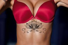 Mandala Lotus Chandelier Underboob Chest Temporary Tattoo in Black – MyBodiArt