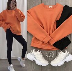 Sporty Outfits, Cute Casual Outfits, Stylish Outfits, Girls Fashion Clothes, Winter Fashion Outfits, Clothes For Women, Fashion Fashion, Trendy Fashion, Look Legging