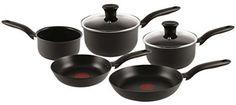 Expert Hard Anodised 5 Piece Pans Safe Oven Pots Non-Stick Cookware Saucepan Set