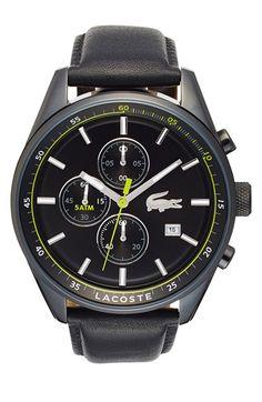 Men's Lacoste 'Dublin' Chronograph Leather Strap Watch