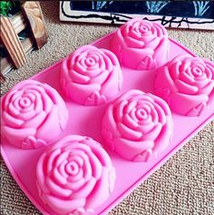 6-holes Big rose flower mold Silicone Cake Mold Handmade Chocolate Mould Ice tray cube pudding mould handmade soap mold Baking tools  Mold Size: 25*17*3CM Each Hole Diameter:7.7cm,Depth:3cm  The cake mold is made of high quality non-toxic silicon food grade. It can be used as ice / cookie / chocolate / jelly / muffin / pudding/ cake/ bread, etc./. Dont hesitate to take it and get ready for your party! Feature: * 100% new, never used * Reusable, non-stic...