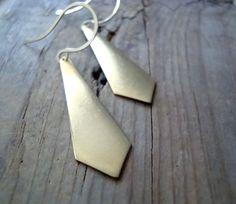 Gold Necktie Earrings Modern Geometric Jewelry by CyclamenStudio
